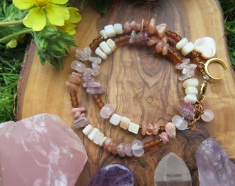 Gemstone Double Wrap Bracelet - Pink Beige Brown - Luna Crescent Moon Heart - Natural Bohemian - Earthy Hippie - Gift for Her