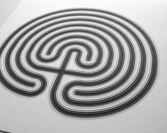 "Labyrinth -- 12 x 12"" layered cut paper artwork"