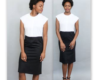 1980's Soft Black and White High Waisted Color Block Dress with Cap Sleeves in Medium or Large . City Urban Vintage Frock Shift Wiggle
