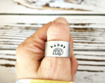 Happy Camper Ring - Gift for camping friend - WIDE hand stamped custom ring - adjustable - cuff ring