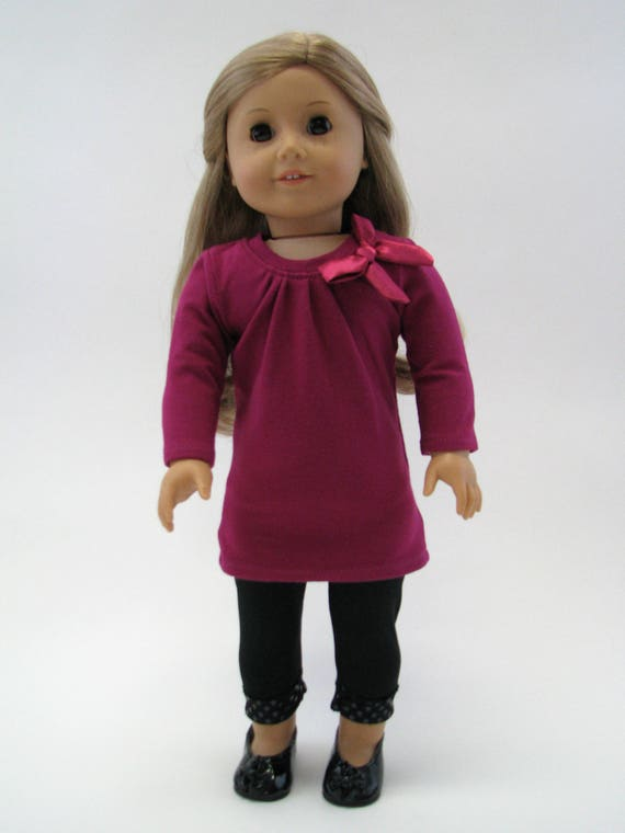 Berry Tee-Shirt Dress & Black Sequin Trim Leggings - 18 Inch Doll Clothes