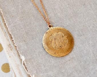 Vintage  brass engraved round pendant necklace,layering necklace,layered,brass necklace,simple necklace,gold  necklace,coin necklace