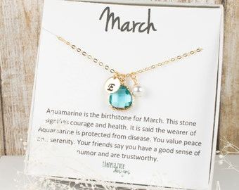 March Birthstone Personalized Aquamarine Gold Necklace, Aquamarine Necklace, March Birthstone Jewelry, Personalized Gold Necklace #877