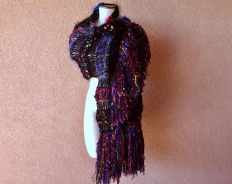 Black Rainbow Scarf Shawl Hand Knit Scarf for Women Includes Purple, Red, Pink Yellow, Blue, Green Knit Accessories Thick Warm Shoulder Wrap