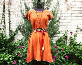 Ancestry Cloth Belt #44 - One of a Kind Wearable Fine Art, Dawn Patel Art, leather belt, repurposed leather, tie sash belt, decorative knot