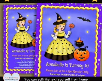 Halloween Party invitation - birthday invite - cute blonde girl Witch and black cat in pumpkin  - INSTANT DOWNLOAD #P-4 - with editable text