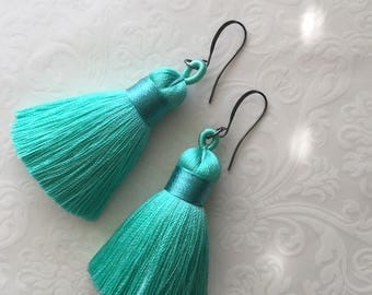 Bright and Juicy~Pastel Aqua~Colorful Earrings~Tassel Earrings~Silk Tassel Earrings~Fringe Earrings~hippie~boho~festival jewelry
