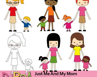 Mother's day clipart - Just me and my mom clipart - Mother and kids, family clipart - digital images, instant download