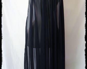 Black Chiffon Cape with Feathers, Regular Size - Ready to Ship - Vampire Gothic Sansa Huntress Raven Cosplay Costume