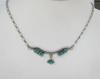Native American - Signed - MCS - Sterling Silver and Petit Point Turquoise Necklace  1895