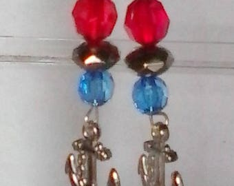 Patriotic Anchor Charm Earrings