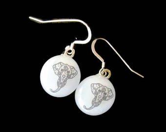 Elephant Earrings, Fused Glass Jewelry, Sugar Skull Earrings, Fused Glass Earrings, Elephant Jewelry, Animal Lover Gift, Elephant Gift