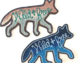 Wild and Free Faded Desert Coyote Patch - Sew On Patch