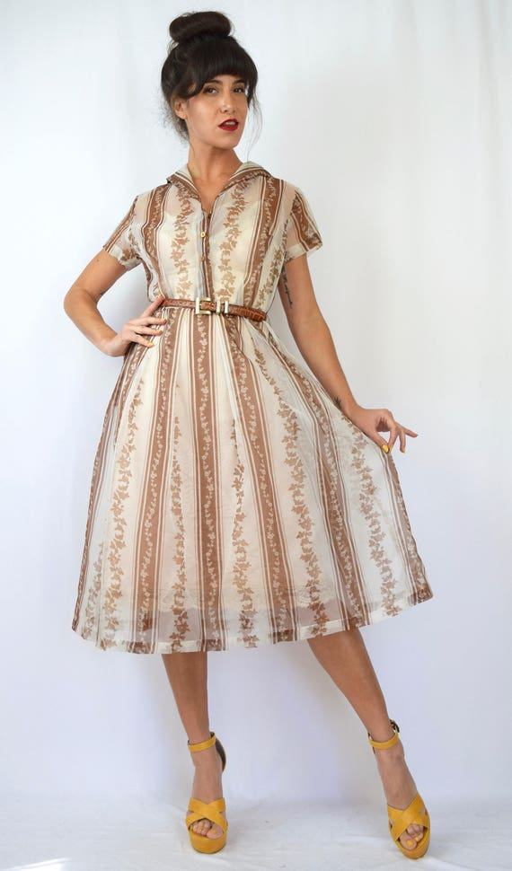 Vintage 50s 60s Brown and White Floral Striped Sheer Organza Shirt Waist Dress (size medium, large)