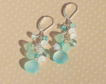 Blue Chalcedony Long Earrings, Beach Wedding Jewelry, Gemstone Cluster,  Moonstones, Apatite, Long Dangle Gemstone Cluster Earring