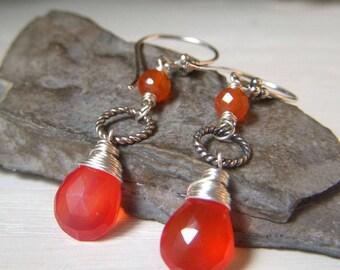 Carnelian Teardrop Earrings, Bright Orange Gemstone, Sterling Silver, Wire Wrapped Natural Stone Jewelry