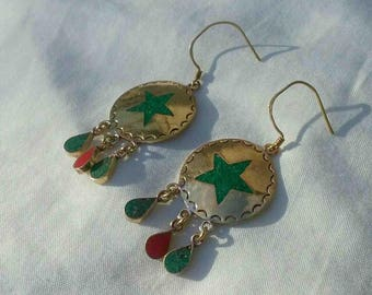 Vintage Nineties Brass Round Circular Star Inlay Dangle Earrings with Fringe Dangle at Bottom / Made in Nepal Tribal Jewelry