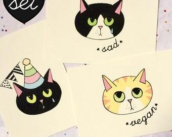 Set di 3 - Cartolina Sad Kittens - stampa alta qualità su carta avorio da 200 gr - gatto triste vegan e party - bianco nero - illustrazione