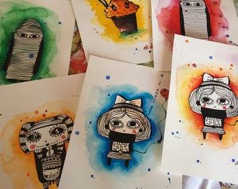 MINI Kawaii original watercolor drawings -  paintings - illustrations