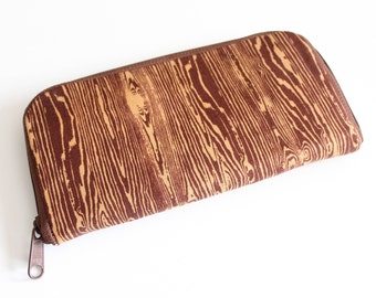 Womens zip around wallet / Checkbook Wallet / Cell Phone Wallet / Passport Wallet / Credit Card Wallet / Accordian wallet / Brown Woodgrain