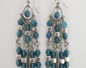 Chandelier Boho Bead Earrings - Teal Zircon