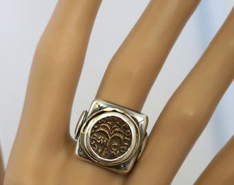 Ancient Coin Ring, Ancient Roman Coin Ring, Statement Coin Ring, Ancient Coins, Sterling Silver Ring, Two Tones Ring, Phoenician Coin