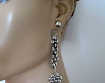 Silver Chain Earrings,  Long Chain Earrings, Chain Earrings Silver, 3 In One Earrings, Long Boho Earrings, Front Back Earrings