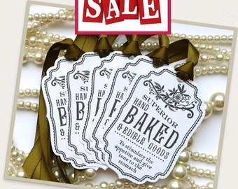 Baked Good Tags  - White/Olive Green - Food Labels - Wedding Favor Tags, Party Tags SET of 5 - Code B7