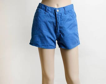 Vintage 1970s Shorts - Royal Blue Painter Shorts with Side Pockets and Loops - JJ's San Francisco - Cotton - Medium
