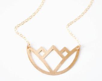 Geometric Lotus Necklace | Brass Necklace | 14k Gold Filled Necklace | Sterling Silver Necklace | Flower Necklace | Floral Necklace