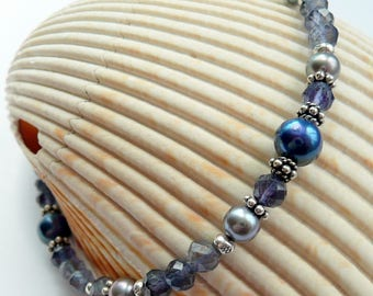 Artisan Blue Iolite Gemstone Fresh Water Pearl Sterling Silver Fine Silver OOAK Unique Funky Boho Hippie Gift for Her Bracelet