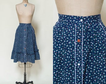 Vintage Calico Skirt --- 1970s Blue Button Up Skirt