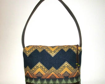 Shoulder Bag Purse Buttery Soft Brown Leather Native American Blanket Wool from Pendleton Oregon Southwest Style