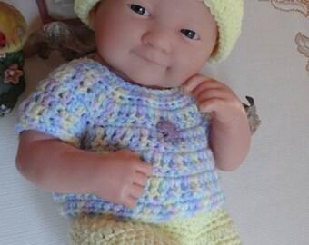 Crochet outfit for 14 inch Doll Berenguer La Newborn Boy Girl Purple Elephant Pastel Yellow Blue