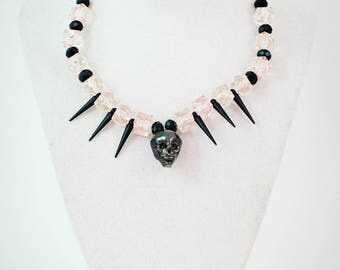 Dark Crystal Skull-Authentic crystal skull and Czech beads and spikes, wire choker.