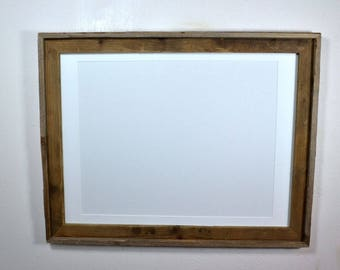 18x24 rustic wood frame with white mat for 16x20,11x17,12x18 or 13x19