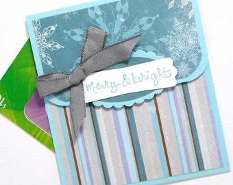 Holiday Money Holder Card - Merry and Bright Christmas Gift Card Holder - Christmas Cash Card - Holiday Money Envelope - Chri
