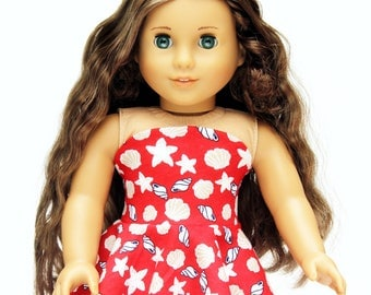 Fits like American Girl Doll Clothes - She Sells Seashells Bandeau Dress in Red