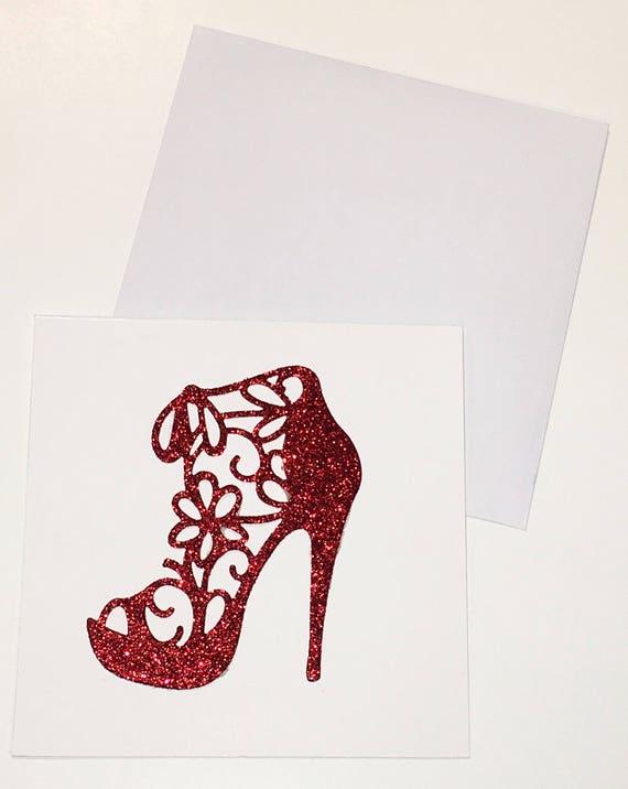 Womens High Heel Shoe Red Glitter Greeting Card Set Blank - Glamorous Feminine Birthday Girlfriend Card Party Invitation Bachelorette Shower