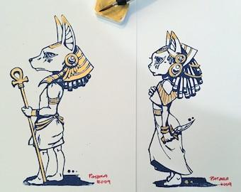 Anubis & Bastet hand screen / hand painted set