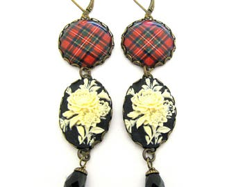 Scottish Tartan Jewelry - Ancient Romance Series - Royal Stewart Clan Tartan Earrings w/Floral Cameo & Onyx Black Czech Glass Crystal Beads