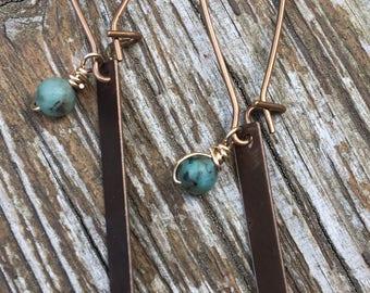 City Copper Rectangle Earrings