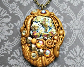 Sparkly Pendant Necklace, Polymer Clay, Jewel Encrusted with Vintage Cabochons, Crystals and More