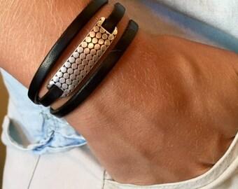 Leather wrap bracelet | Wrap bracelet | Women bracelet | Leather and silver bracelet | Uno de 50 | Leather jewelry |  Leather triple wrap