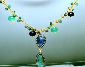 14k Gold Bezel Sapphire Black Opal Green Onyx Bubble Necklace Stunning