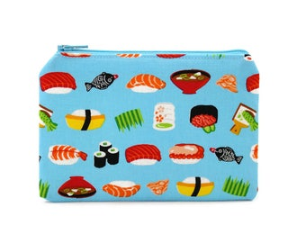 CHOOSE SIZE Sushi Zipper Pouch / Sashimi Nigiri Miso Camera Bag on Blue/ Pencil, Make Up or Coin Pouch