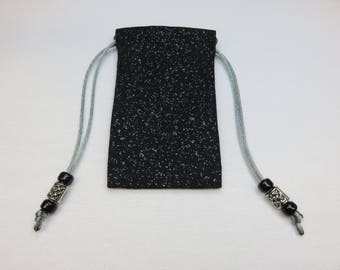 Mini Silver and Black Sparkle, Fully lined in Silk, Handmade Tarot Pouch, Tarot Bag