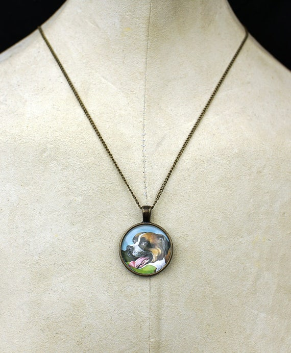Boxer pendant necklace dog lover necklace boxer breed portrait animal lover custom
