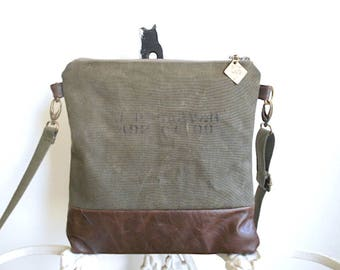 Military canvas  & leather crossbody, iPad flat bag - eco vintage fabrics