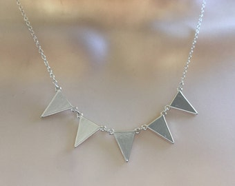 Bunting Necklace, Mini flags Necklace, Mini triangles dainty necklace, Minimalist Necklace, Silver plated Jewelry